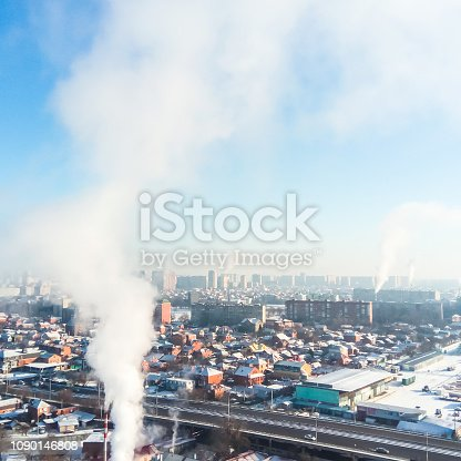 istock Winter town. Frosty sunny day in the city. Snow on the streets a 1090146808
