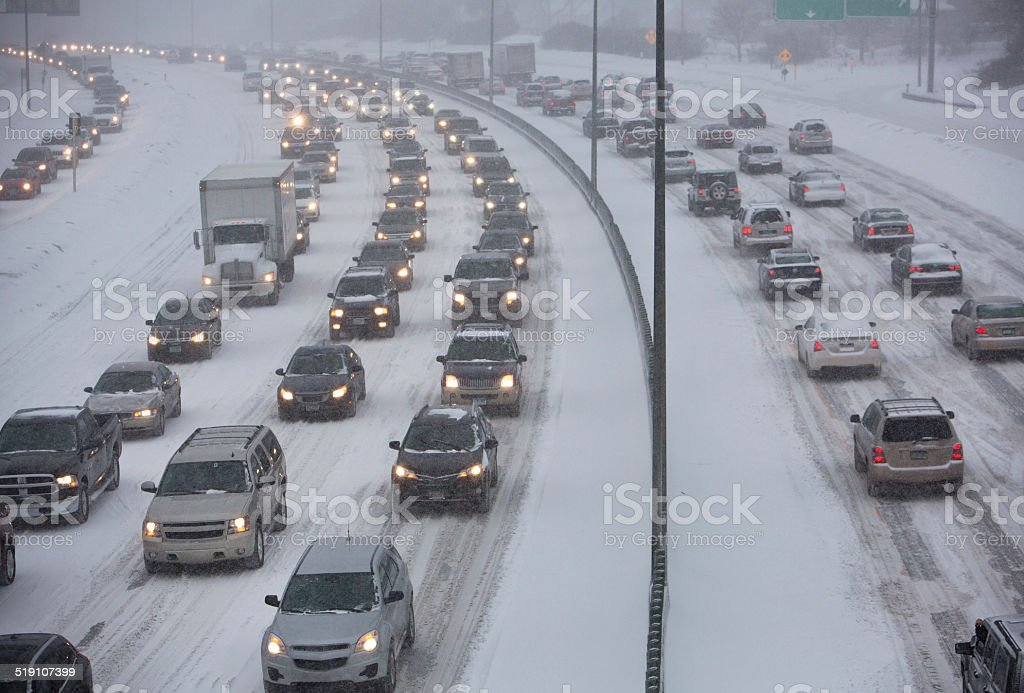 Winter Traffic Jam On Highway During A Midwest Snowstorm
