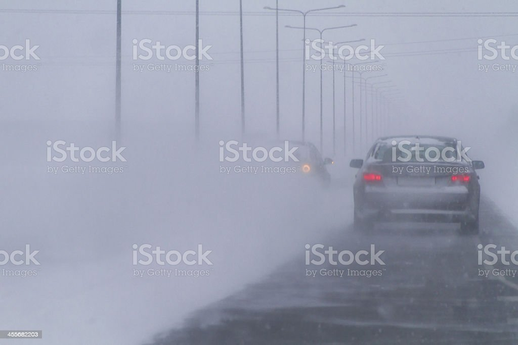 Winter Traffic, low visibility stock photo