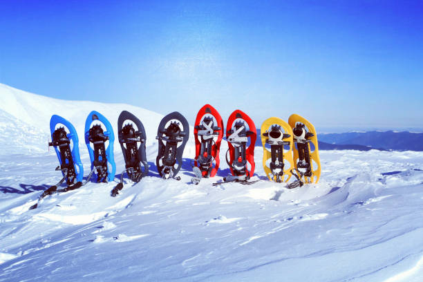 trekking dans les montagnes de l'hiver. raquettes à neige se tiennent dans la neige. - raquette photos et images de collection