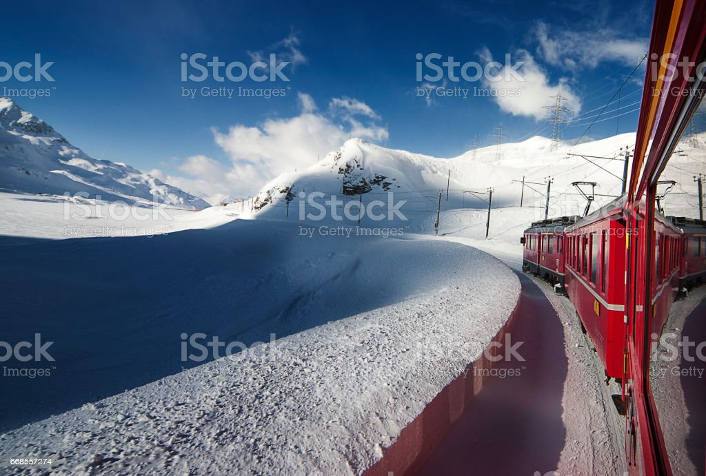 Winter trip with Bernina Express, Switzerland stock photo