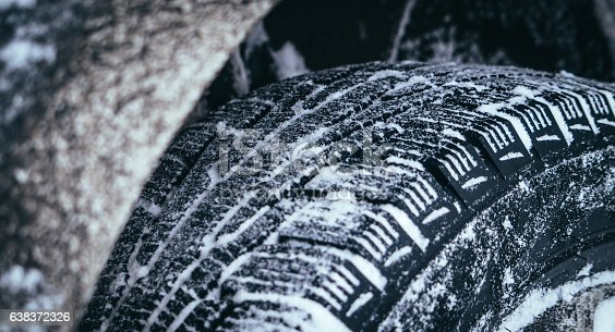 Safe driving in winter. Winter tyre for car