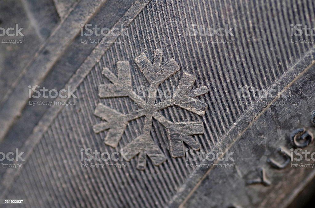 Winter tyre stock photo