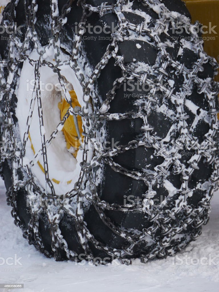 Winter tyres and snow chains royalty-free stock photo
