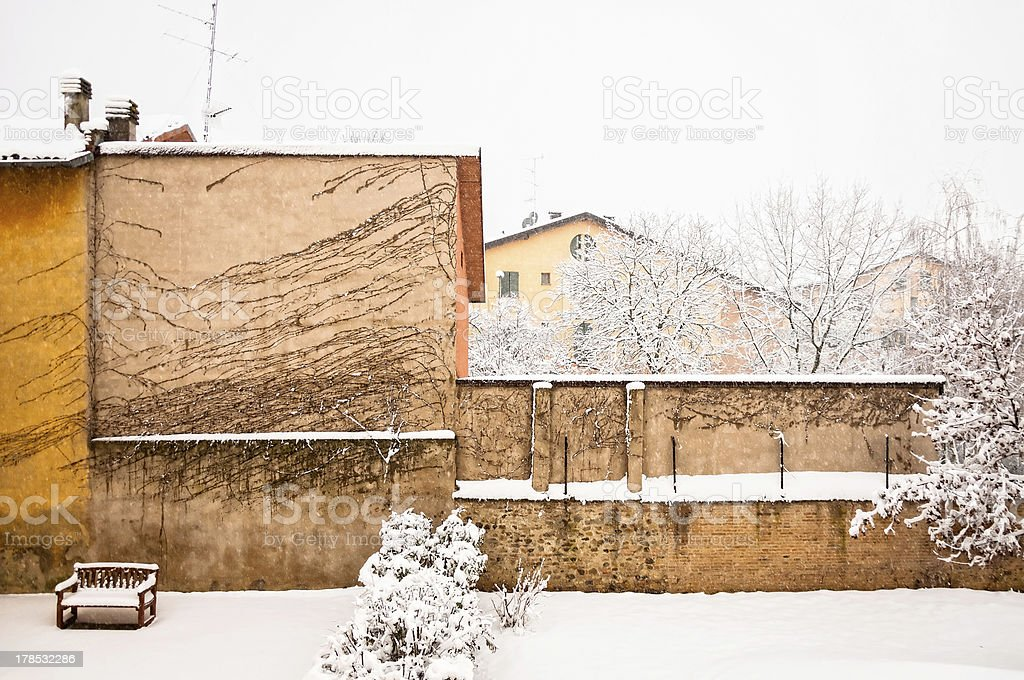 winter urban scape with intense snowfall royalty-free stock photo