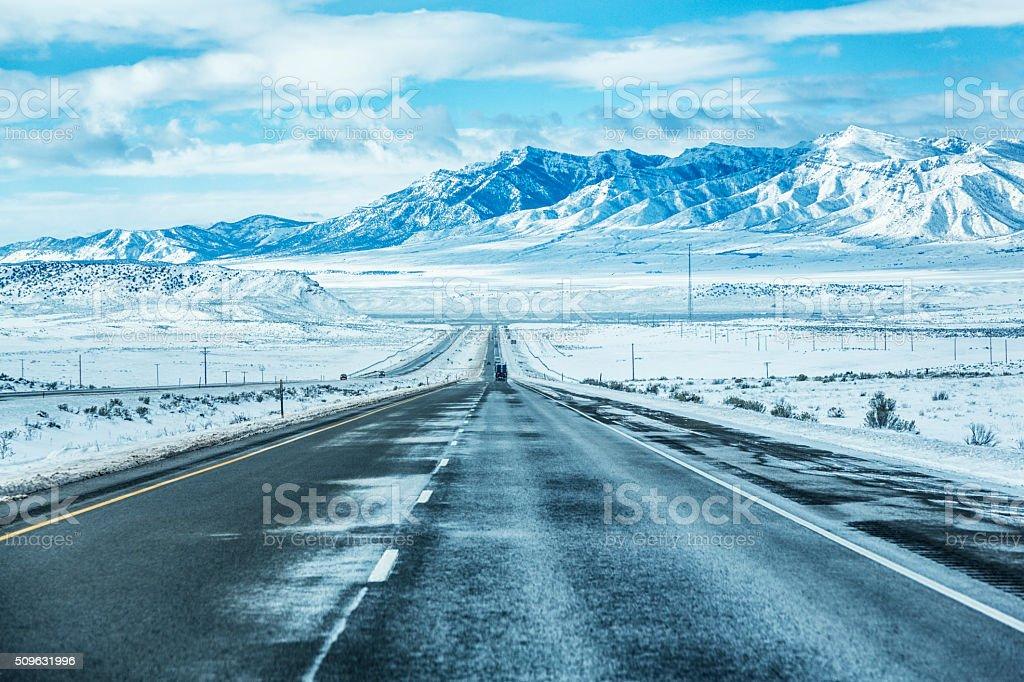 Winter Utah USA Mountains Expressway stock photo