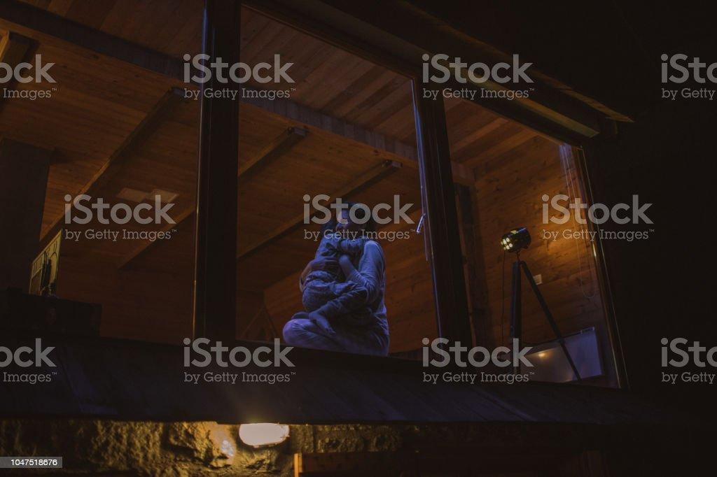 Winterurlaub in einem Blockhaus – Foto