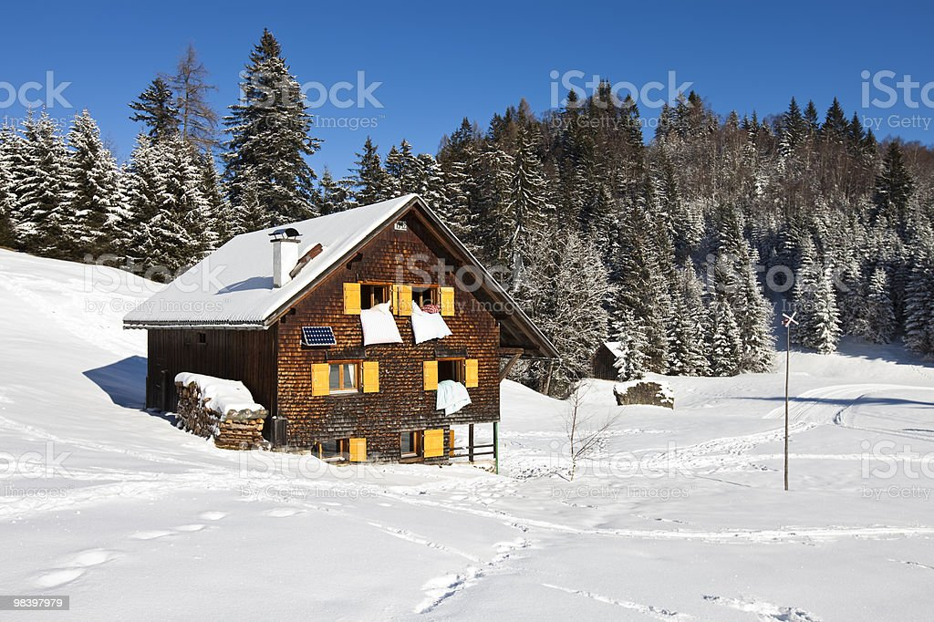Winter vacation in snow covered rural area royalty-free stock photo