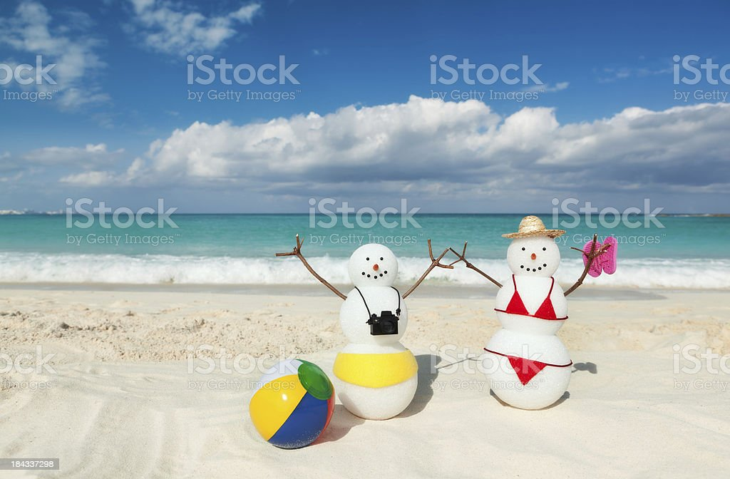 Winter Vacation in Tropical Caribbean White Sand Beach stock photo