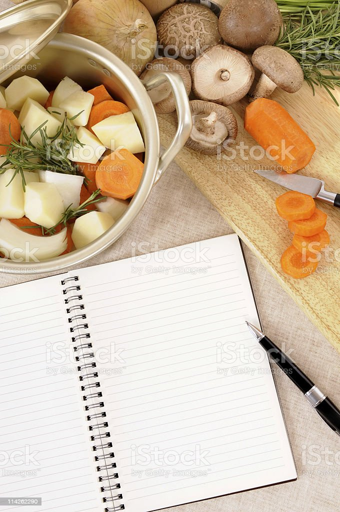 Winter vegetables with cookbook royalty-free stock photo