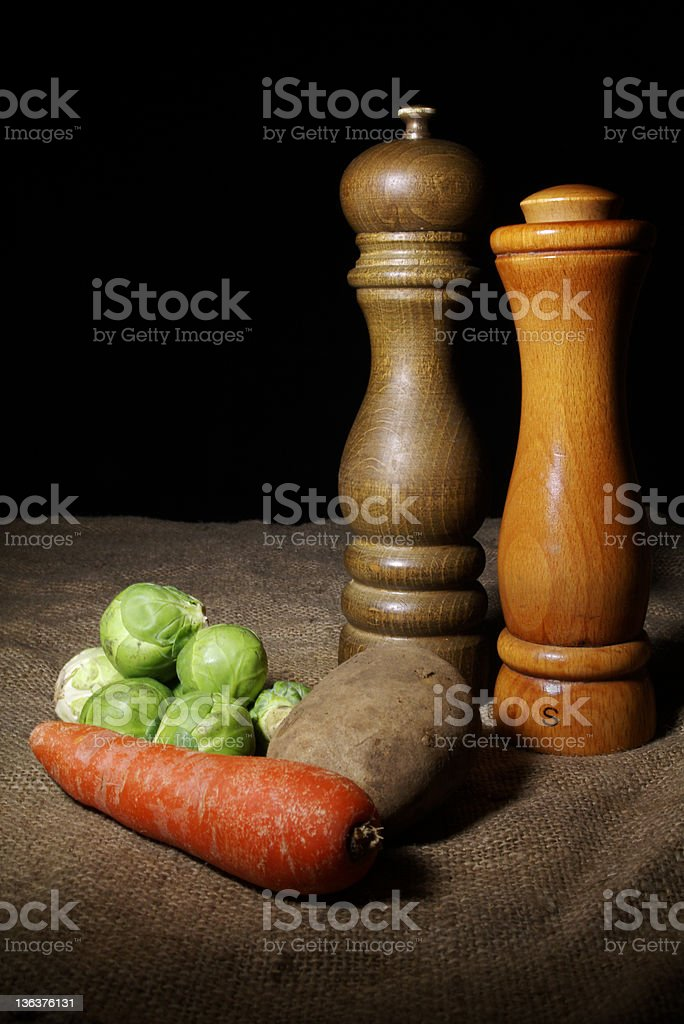 Winter Vegetables With Salt and Pepper royalty-free stock photo