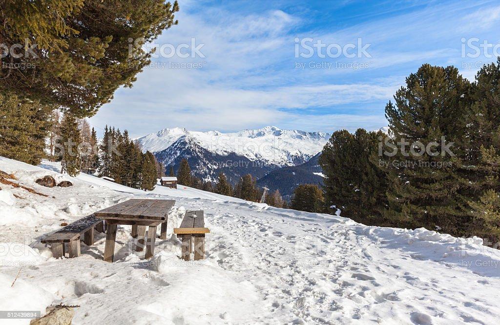 Winter view from Schatzalp above Davos stock photo
