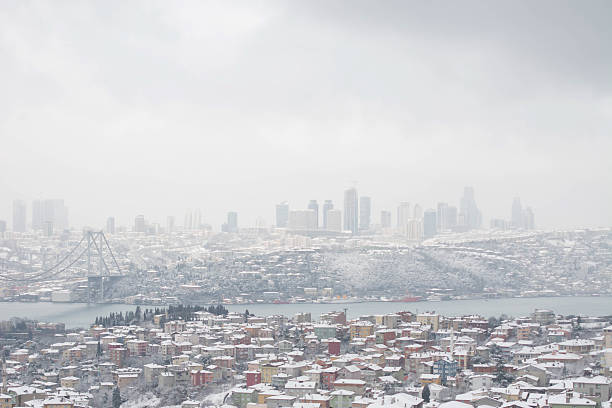 Winter view from the city of Istanbul stock photo