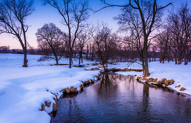Winter view of a creek in rural York County, Pennsylvania. stock photo
