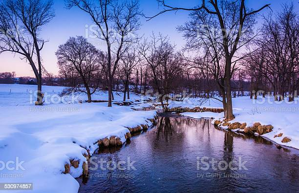 Photo of Winter view of a creek in rural York County, Pennsylvania.
