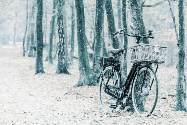 Winter view of a Dutch electric black cargo bicycle with basket stock photo