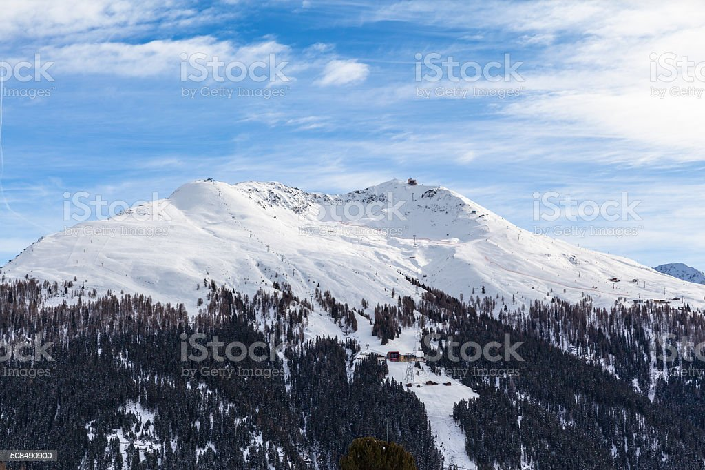 Winter view of Jacobshorn in Davos stock photo