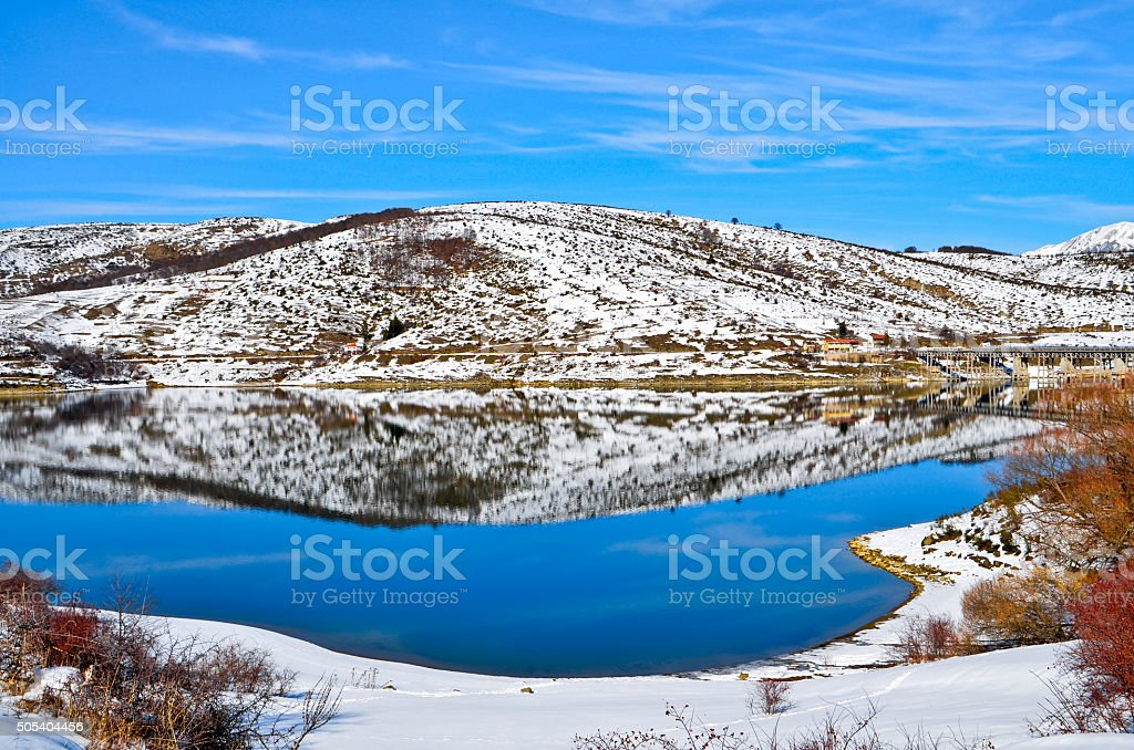 Winter view of Lake Campotosto stock photo