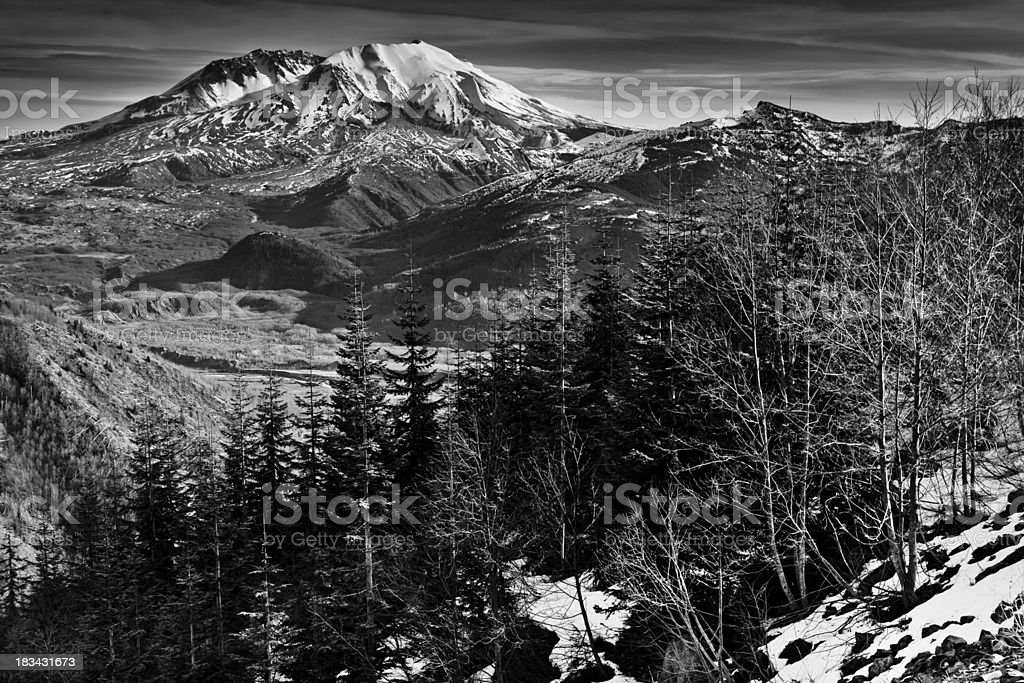 Winter view of Mount St. Helens stock photo
