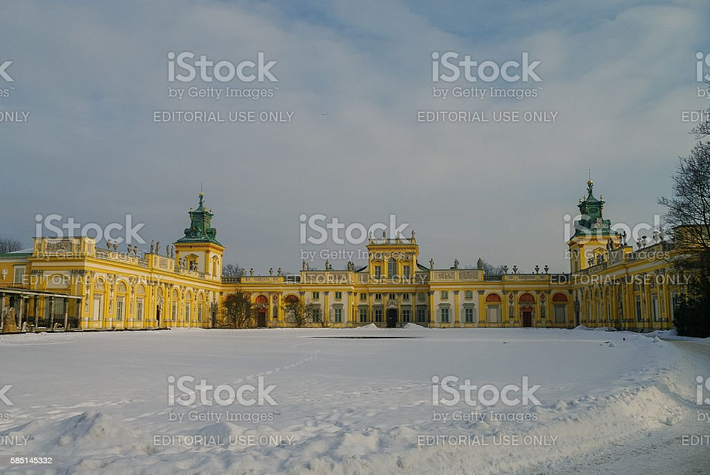 Winter view of Museum of King Jan III's Palace. stock photo
