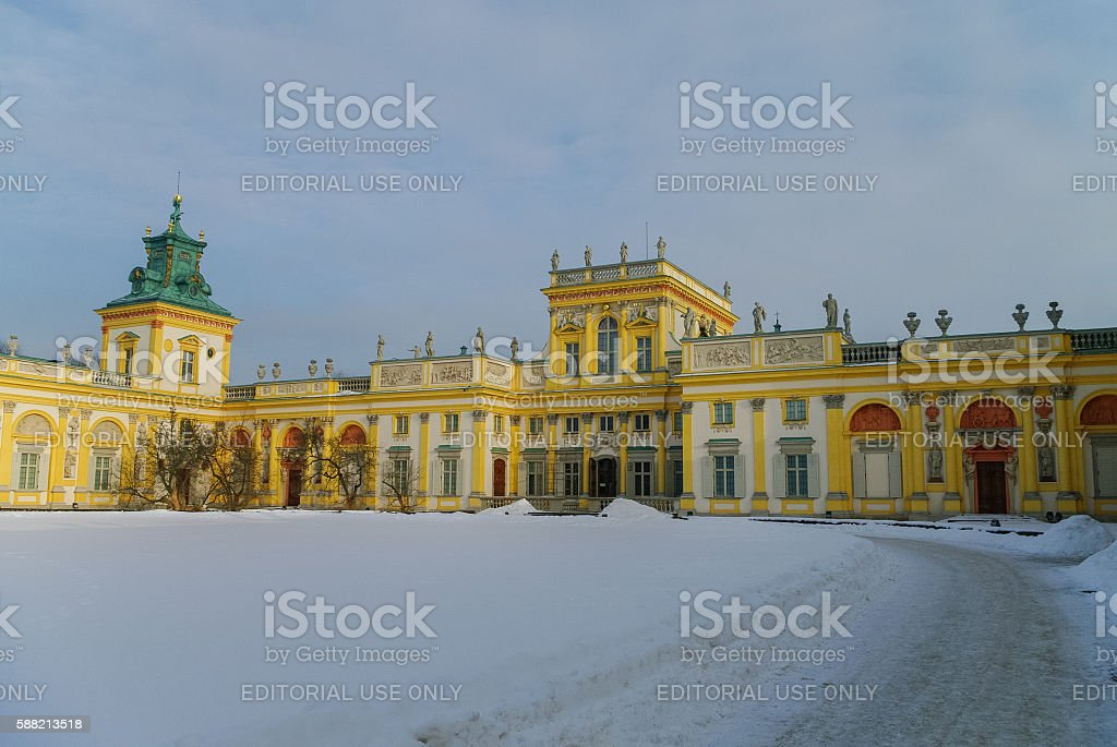 Winter view of Museum of King Jan III's Palace stock photo