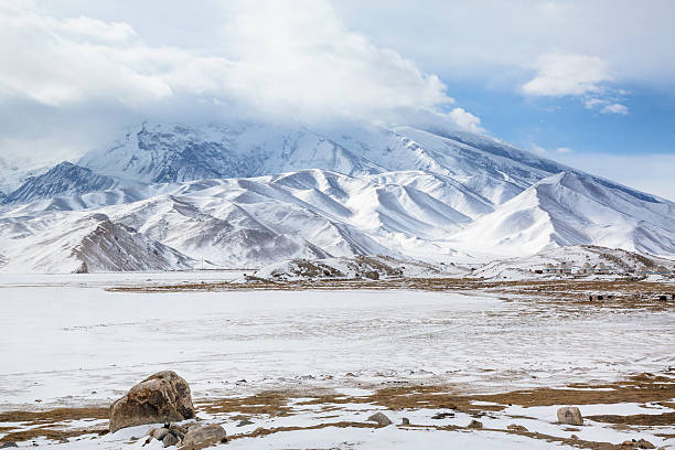 Winter view of Mustagh Ata Mountain stock photo