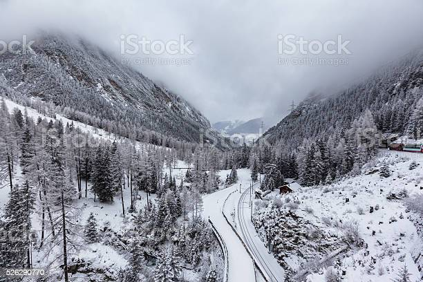 Winter View Of Switzerland On The Train Stock Photo - Download Image Now