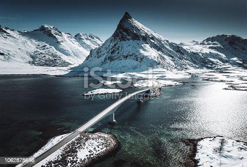 winter view of the bridge at the lofoten islands