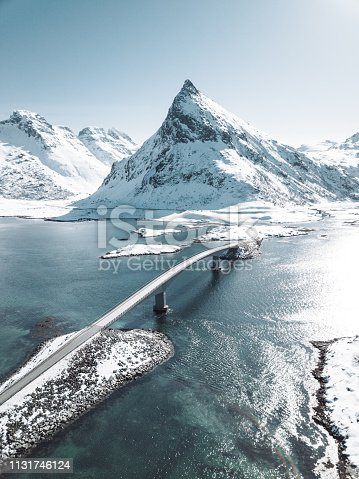winter view of the bridge at the lofoten islands