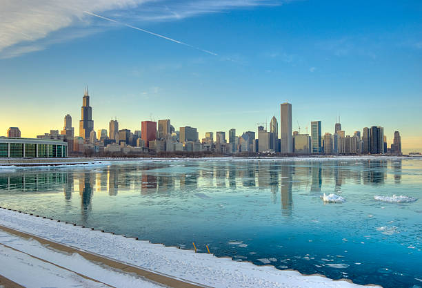 Winter View of the Chicago Skyline stock photo