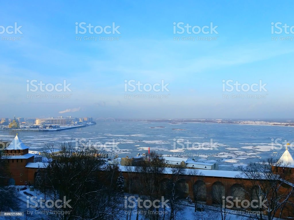 Winter view on Nizhny Novgorod city, Russia stock photo