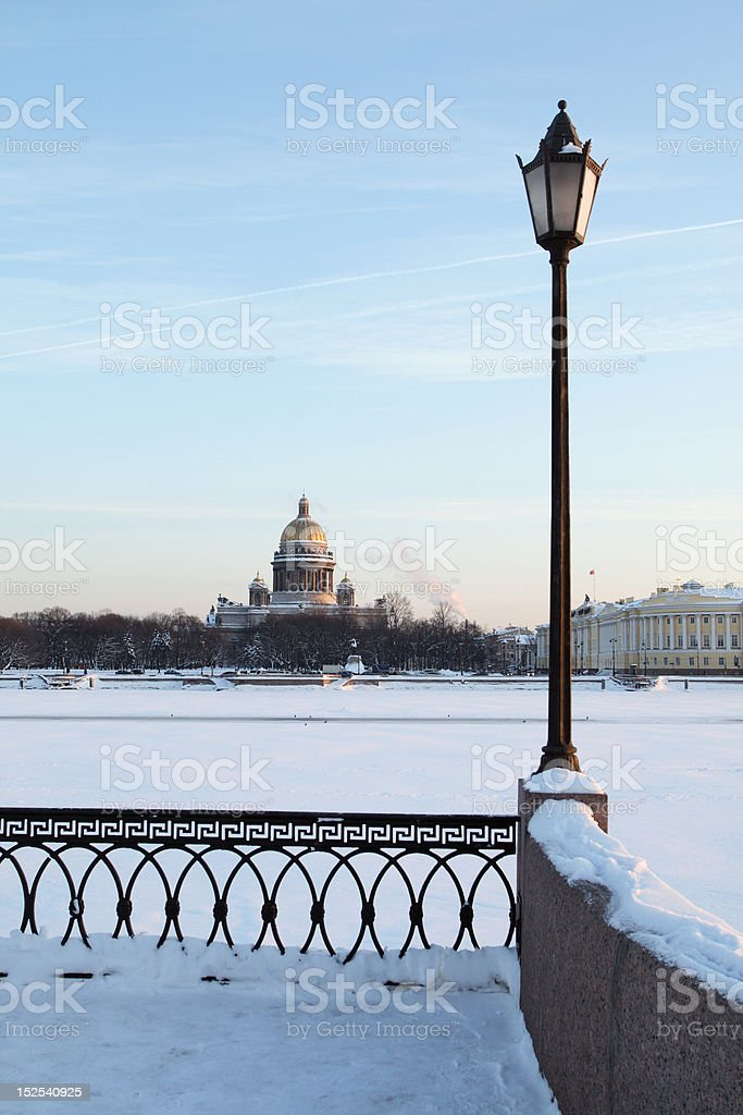 Winter view on St. Isaac's Cathedral in Saint-Petersburg, Russia stock photo