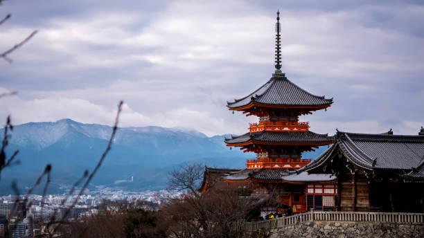 Winter view to Kiyomizu-dera triple tower stock photo