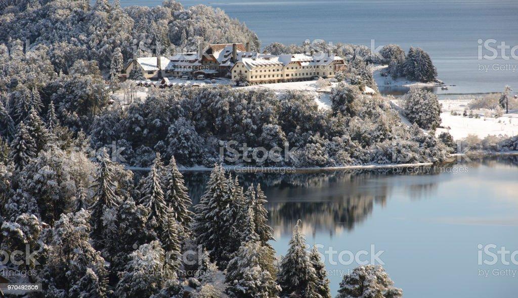 Winter Views of Tour Circuit in San Carlos de Bariloche stock photo