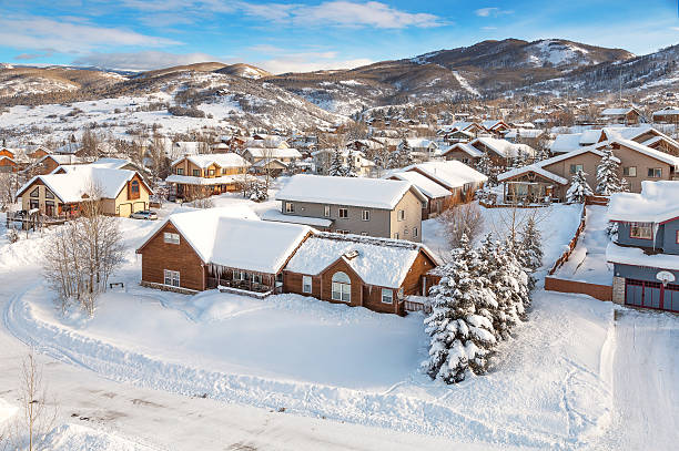 Winter village from midair Steamboat springs, colorado village from a hot air ballon midair. steamboat springs stock pictures, royalty-free photos & images