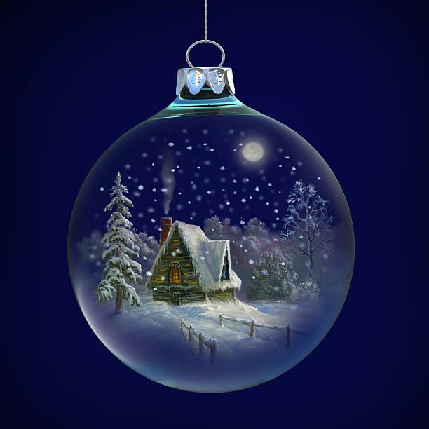 winter-dorf in glas ball - märchenillustrationen stock-fotos und bilder