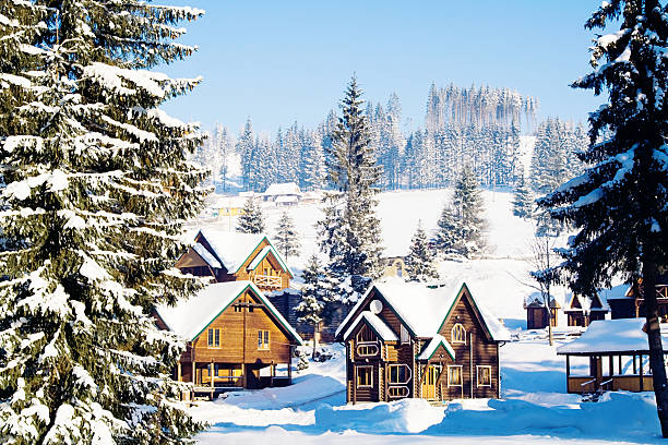 Winter village in mountains Winter village in mountains russian dacha stock pictures, royalty-free photos & images