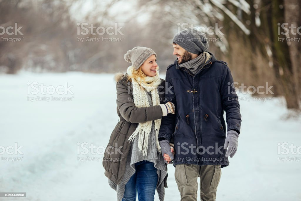 Winter walk in the park stock photo