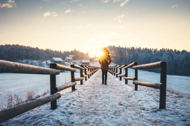 winterspaziergang - kalte sonne stock-fotos und bilder