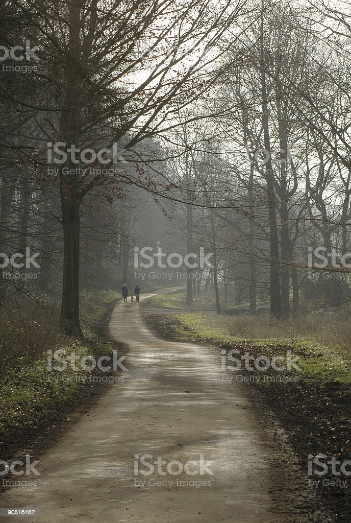 Winter Walkers on Bredon HIll royalty-free stock photo