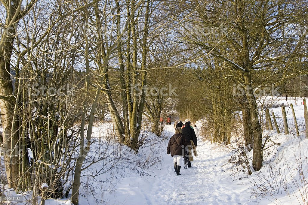Winter walking royalty-free stock photo