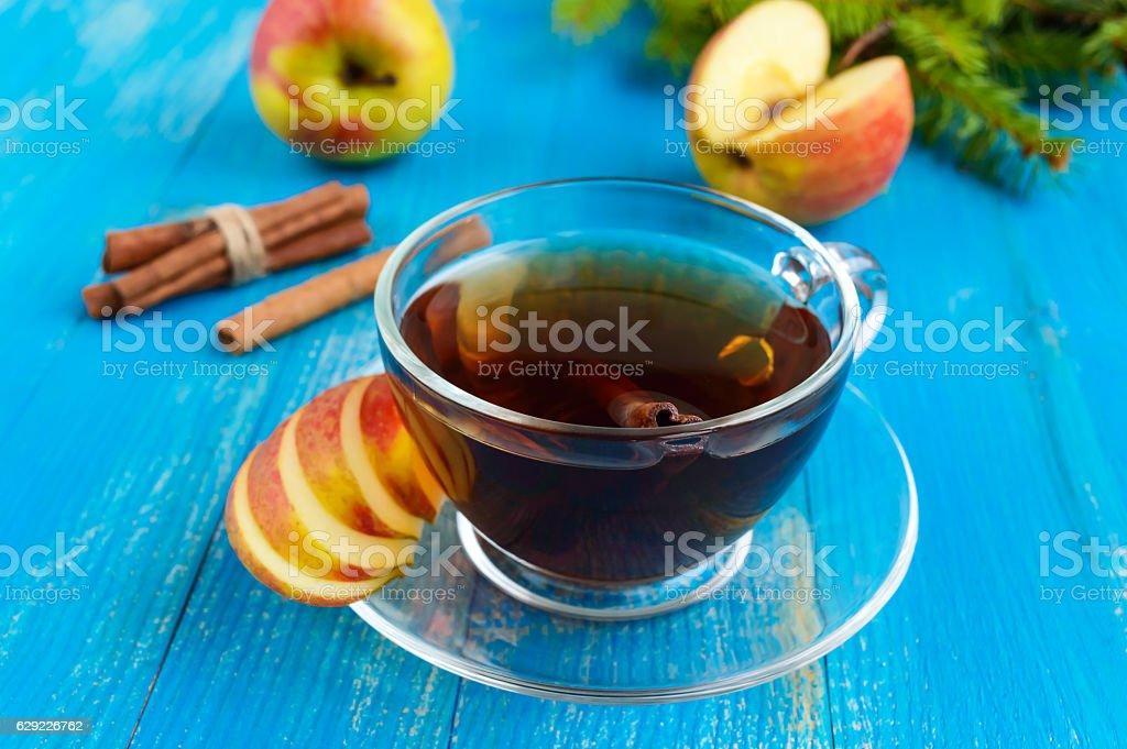Winter warms festive Vitamin tea with apple and cinnamon stock photo