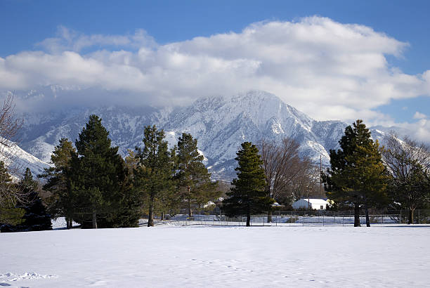winter wasatch mountains - mikefahl stock pictures, royalty-free photos & images