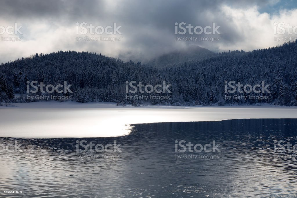 Winter water landscape background with ice on the water ad dramatic sky, Cerknica lake, Slovenia stock photo