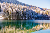 Beautiful winter in Alps, Lago di Fusine valley, Italy. Europe; outdoor photography. Nikon.