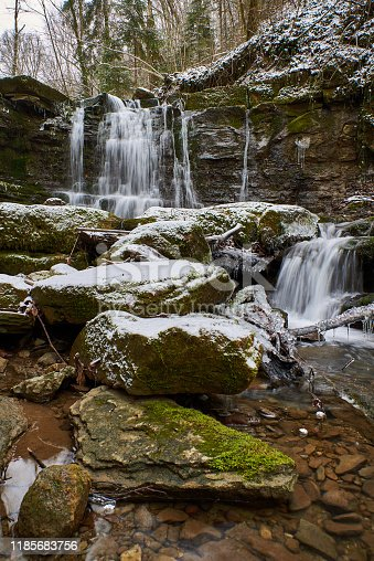 1141614053 istock photo Winter waterfall on a mountain Kaverze river 1185683756