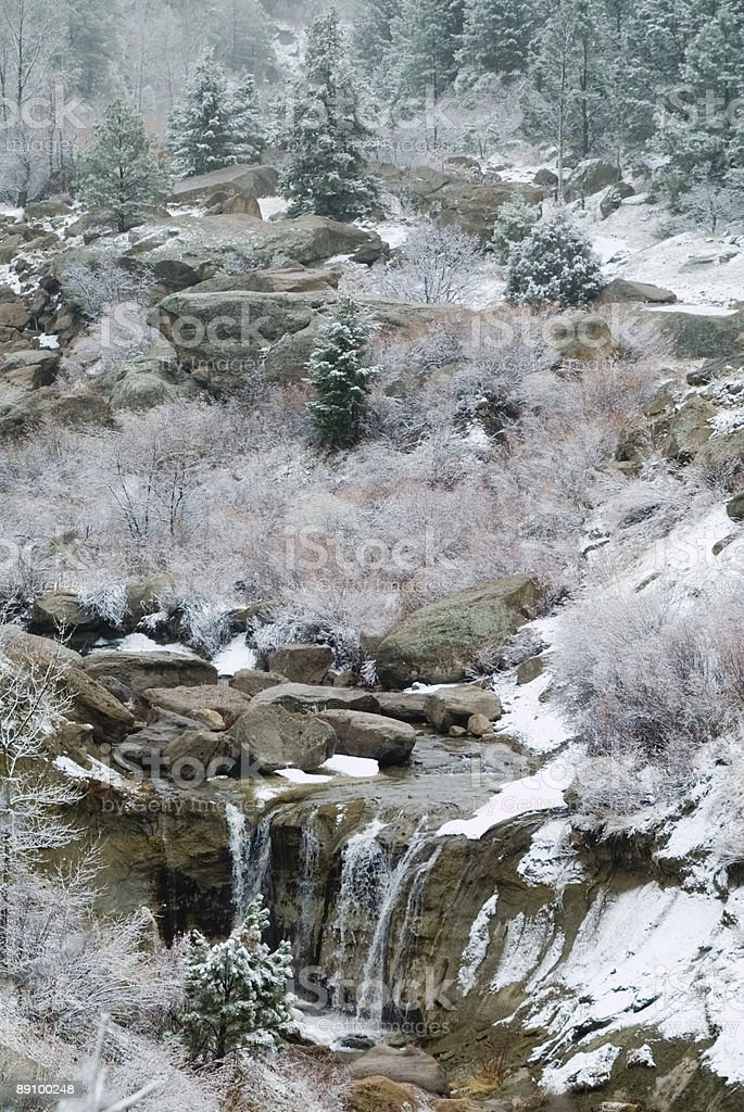 Winter Waterfall on Cherry Creek royalty-free stock photo