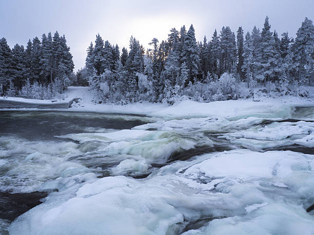 winter waterfall Storforsen stock photo