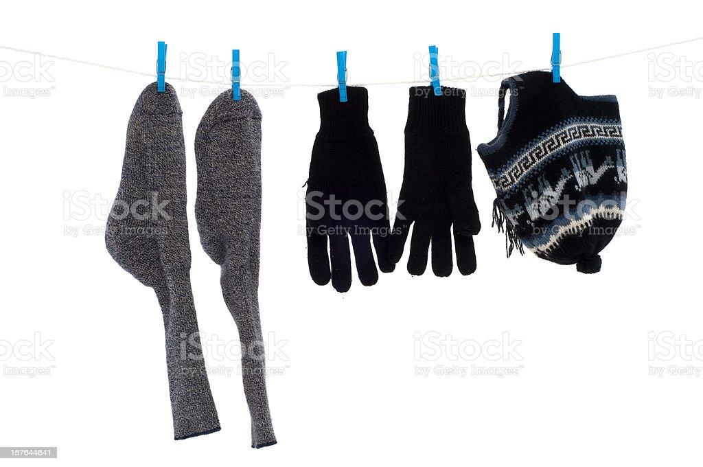 Winter wear on washing line royalty-free stock photo