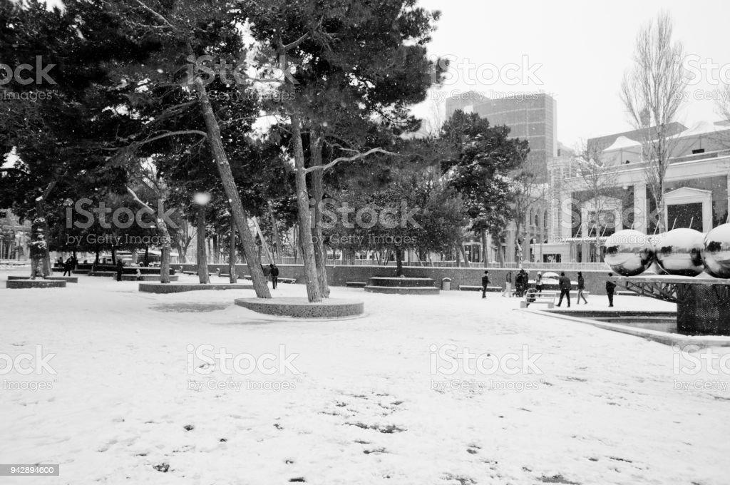 Winter weather in Baku stock photo